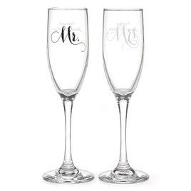 Mr. and Mrs. Elegant Toasting Flutes