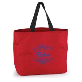 Red Flourish Tote Bag