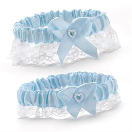 Blue Satin Wedding Garter Set