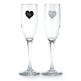 Black and White Heart Toasting Flutes