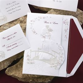 "Love""s Journey with Claret Accents - Invitation"
