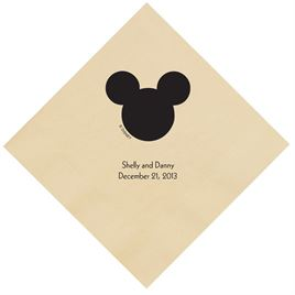 A Classic - Disney Taupe Dinner Napkin in Foil