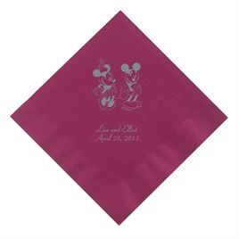 A Classic - Disney Cranberry Beverage Napkin in Foil