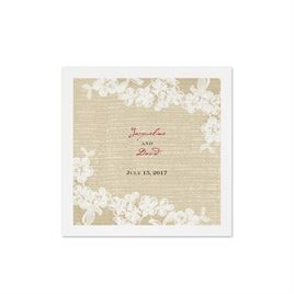 Burlap and Lace - White Cocktail Napkin