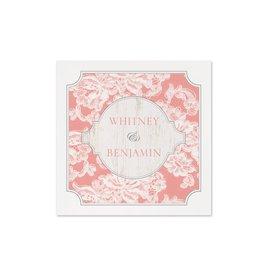Pink Wedding Napkins: Lace Love - Cocktail Napkin