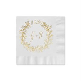 Wreath Frame - White - Foil Cocktail Napkin