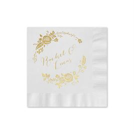 Roses and Whimsy - White - Cocktail Napkin