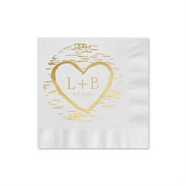 Birch Tree Carvings Foil Cocktail Napkin