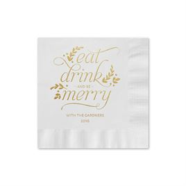 Eat, Drink, Merry - White - Holiday Beverage Napkin