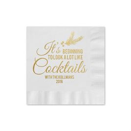 Looks Like Cocktails - White - Holiday Beverage Napkin
