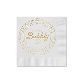 Pop the Bubbly - White - Holiday Beverage Napkin