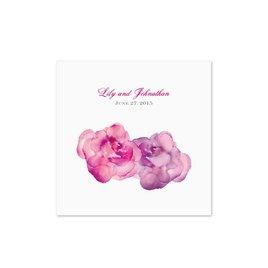 Watercolor Roses - Purple - White Cocktail Napkin