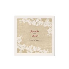 Burlap and Lace - Ecru Cocktail Napkin