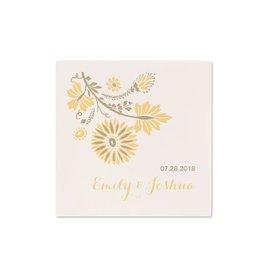 Yellow Wedding Napkins: Prairie Floral - Cocktail Napkin