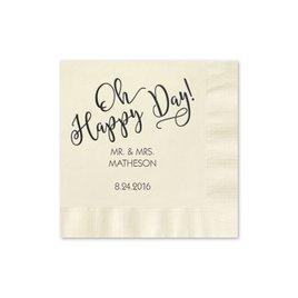 Oh Happy Day - Ecru - Foil Cocktail Napkin