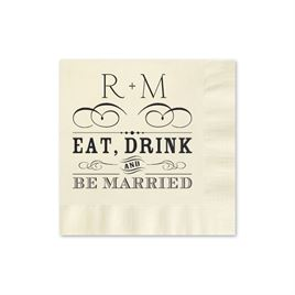 Be Married - Ecru - Foil Cocktail Napkin