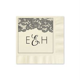 Vintage Lace - Ecru - Foil Cocktail Napkin
