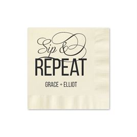 Sip & Repeat - Ecru - Foil Cocktail Napkin
