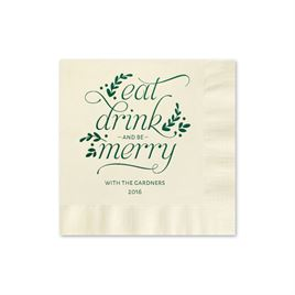 Eat, Drink, Merry - Ecru - Holiday Beverage Napkin