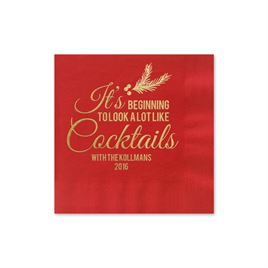 Looks Like Cocktails - Red - Holiday Beverage Napkin