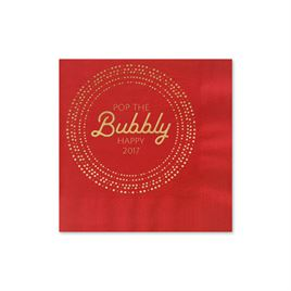 Pop the Bubbly - Red - Holiday Beverage Napkin