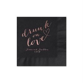 Drunk on Love - Black - Foil Cocktail Napkin