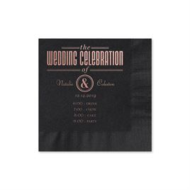 Party Itinerary - Black - Foil Cocktail Napkin