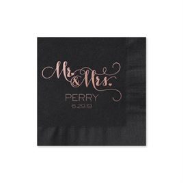 Mr. and Mrs. - Black - Foil Cocktail Napkin