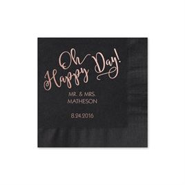 Oh Happy Day - Black - Foil Cocktail Napkin