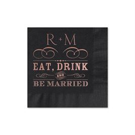 Be Married - Black - Foil Cocktail Napkin