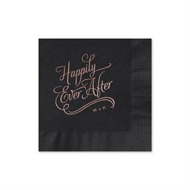 Happily Ever After - Black - Cocktail Napkin