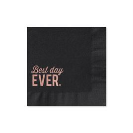 Best Day Ever - Black - Foil Cocktail Napkin