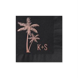 Palm Trees - Black - Foil Cocktail Napkin