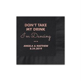 Busy Dancing - Black - Foil Cocktail Napkin