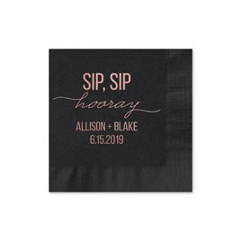 Sip, Sip Hooray - Black - Foil Cocktail Napkin