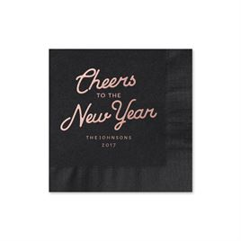 Cheers - Black - Holiday Beverage Napkin