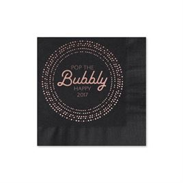 Pop the Bubbly - Black - Holiday Beverage Napkin