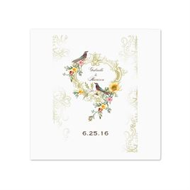 Vintage Birds - White Dinner Napkin