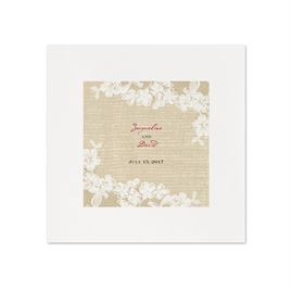 Burlap and Lace - White Dinner Napkin