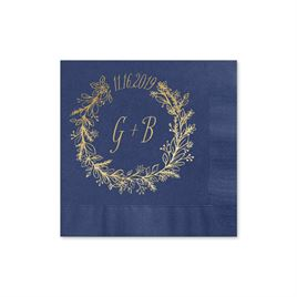 Wreath Frame - Navy - Foil Cocktail Napkin