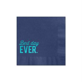 Best Day Ever - Navy - Foil Cocktail Napkin