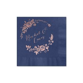 Roses and Whimsy - Navy - Foil Cocktail Napkin