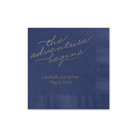 The Adventure Begins - Navy - Foil Cocktail Napkin