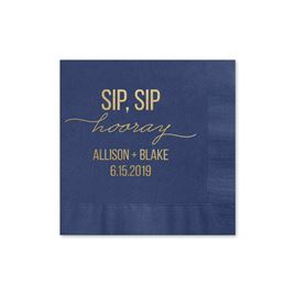 Sip, Sip Hooray - Navy - Foil Cocktail Napkin