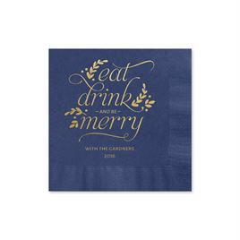 Eat, Drink, Merry - Navy - Holiday Beverage Napkin