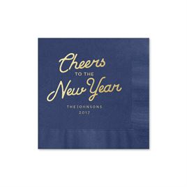 Cheers - Navy - Holiday Beverage Napkin