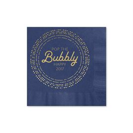 Pop the Bubbly - Navy - Holiday Beverage Napkin