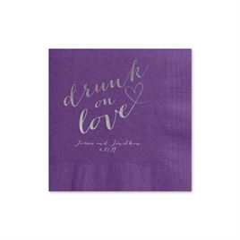 Drunk on Love - Purple - Foil Cocktail Napkin