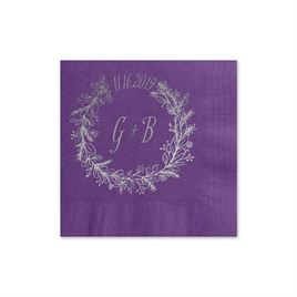 Wreath Frame - Purple - Foil Cocktail Napkin