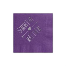 Heart and Arrow - Purple - Foil Cocktail Napkin